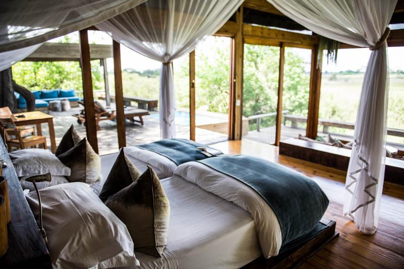 The beautiful room at Vumbura Plains.